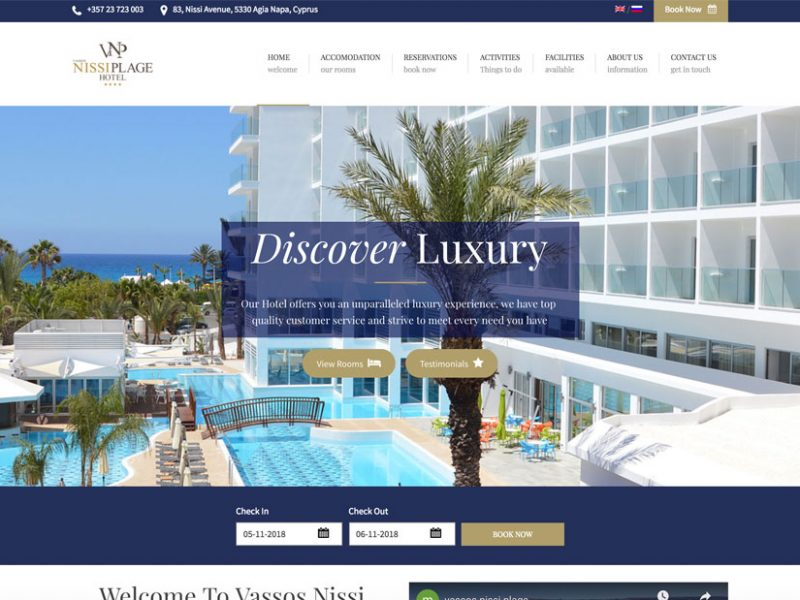 vassos nissi plage, plex sites, website design